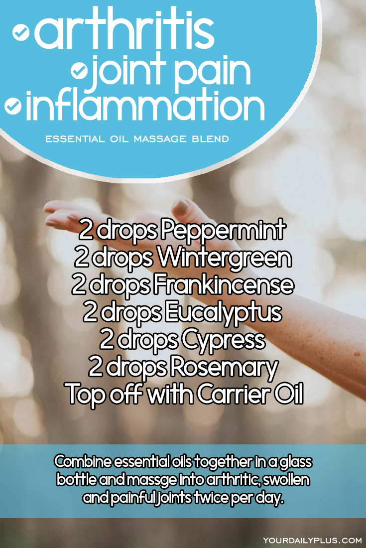 Essential oil massage blend for arthritis, joint pain and inflammation. Try this natural treatment using Peppermint, Wintergreen, Frankincense, Eucalyptus, Cypress and Rosemary.