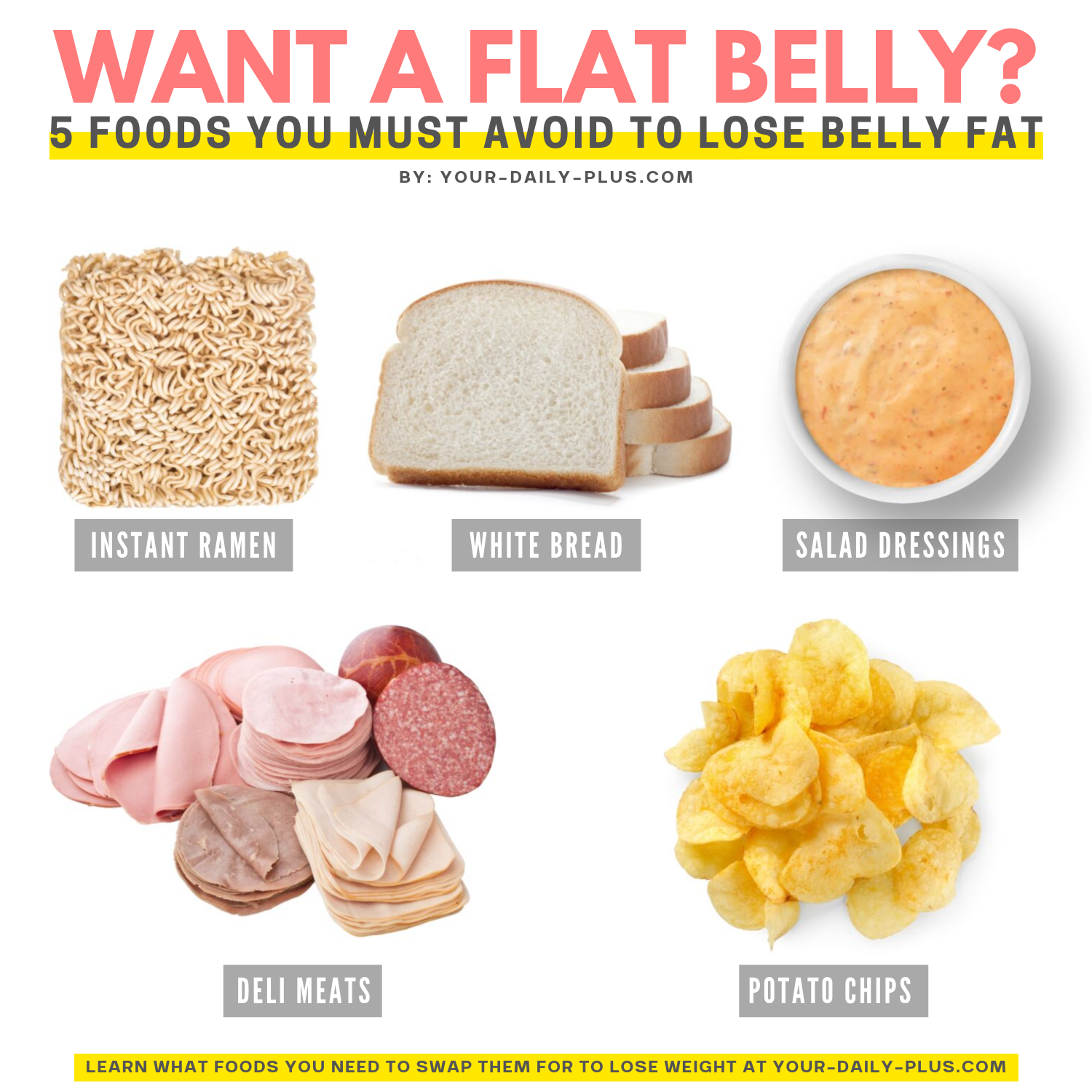 For you girls that love eating, as I do, it may be hard to shed the weight. However, if you swap out these five processed foods for healthier options, you can start looking and feeling great with your new weight loss. #weightloss #flatbelly #healthyeating